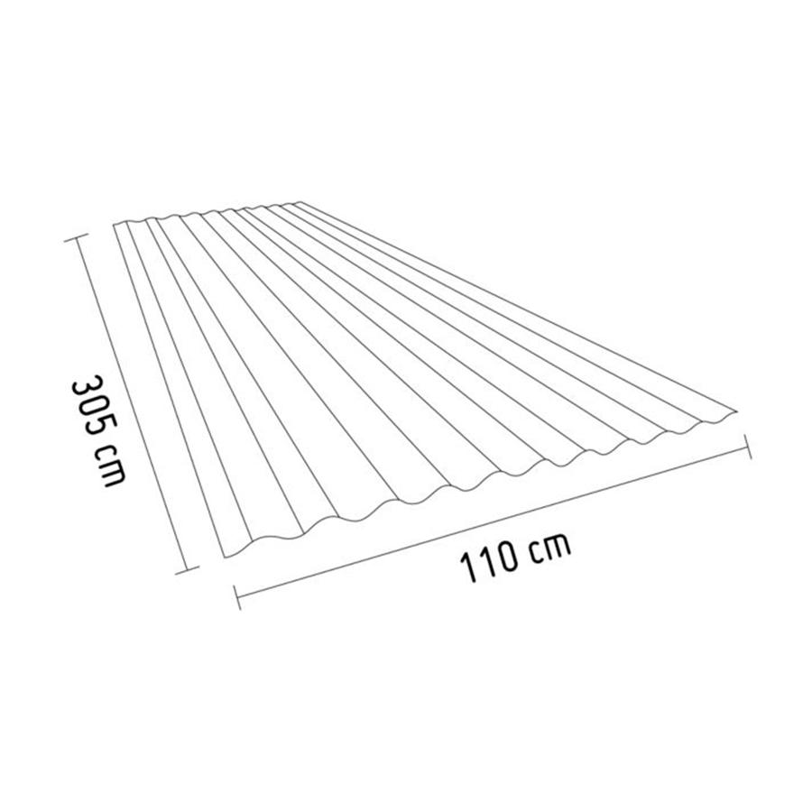 Techo de Polipropileno Rojo 0.9 mm 3.05 x 1.10 m