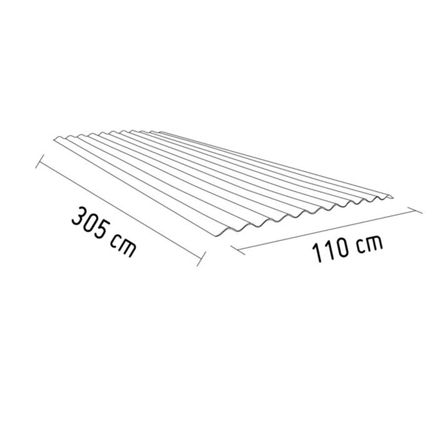 Techo Polipropileno Traslúcido Ámbar 3.05 x 1.10 m x 1 mm